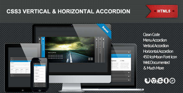 CodeCanyon CSS3 Vertical & Horizontal Accordion 4617001