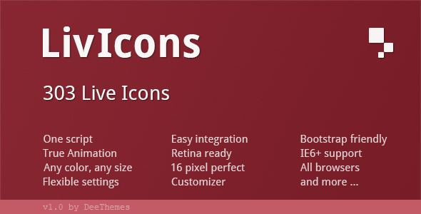 CodeCanyon LivIcons 303 Truly Animated Vector Icons 4618985