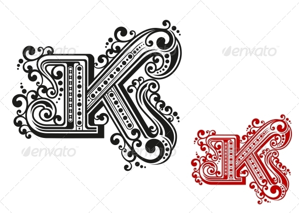 GraphicRiver Letter K in Retro Vintage Style 4619050