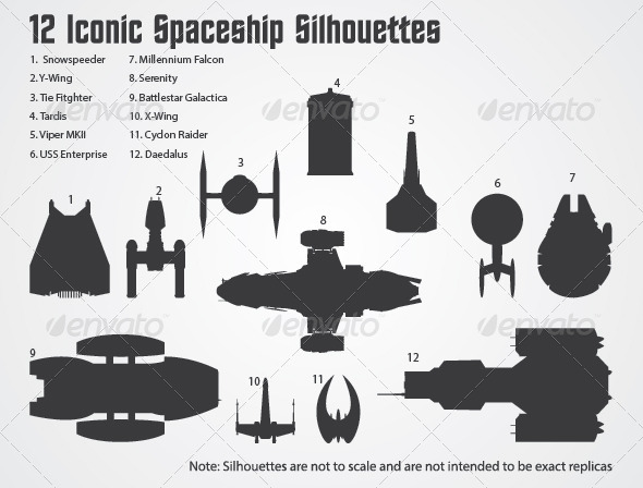 GraphicRiver 12 Iconic Spaceships Silhouettes 4619255