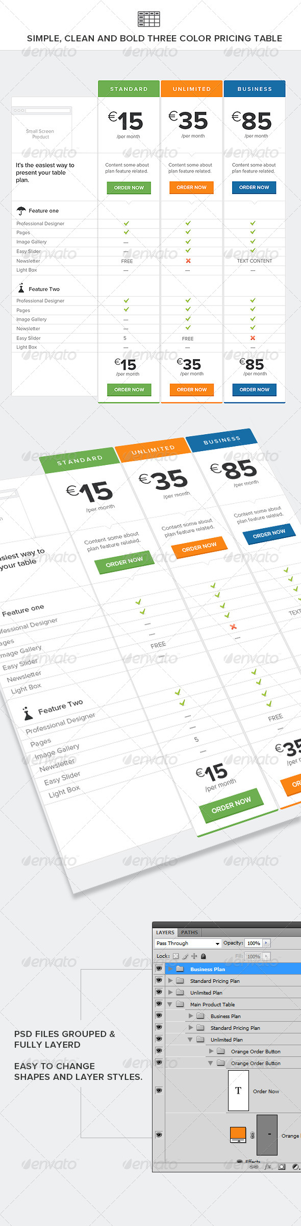 GraphicRiver Simple Clean and Bold Three Color Pricing Table 4598839