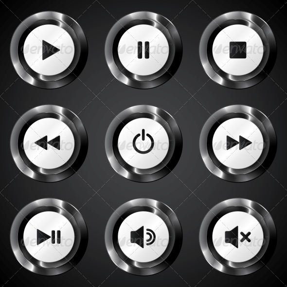 GraphicRiver Black Metallic Vector Power Buttons Set 4621278