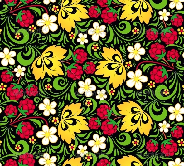 GraphicRiver Vector Pattern Traditional Russian Style Hohloma 4621319