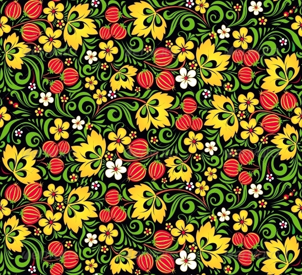 GraphicRiver Vector Pattern Traditional Russian Style Hohloma 4621334