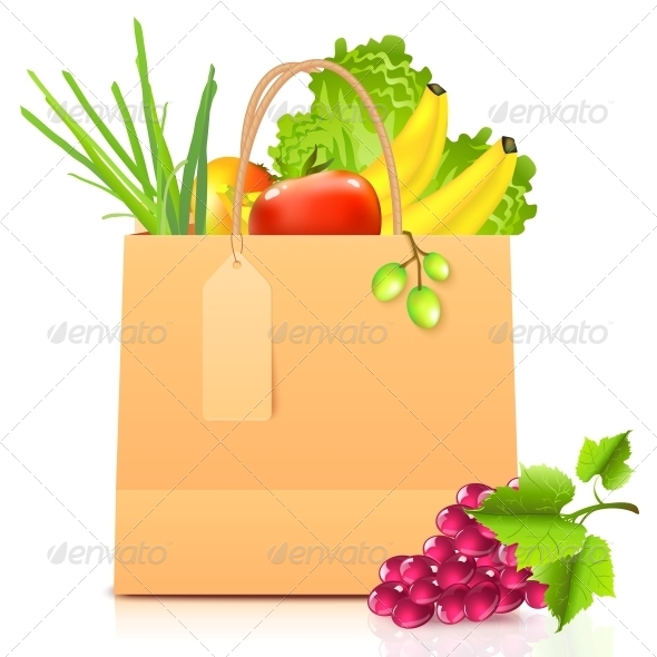 GraphicRiver Vector Isolated Paper Bag with Vegetables 4621450