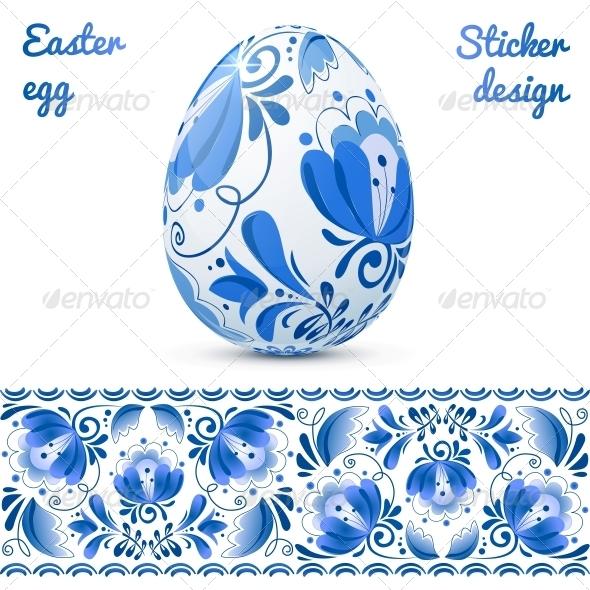 GraphicRiver Easter Eggs Sticker Design Template 4621475
