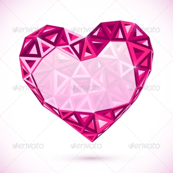 Pink Abstract Valentines Day Heart with Triangles