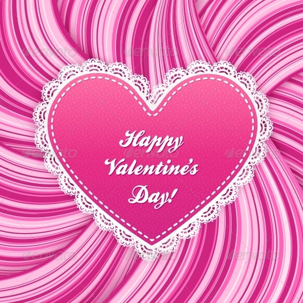 GraphicRiver Pink Vector Lacy Heart on Wavy Lines Background 4621608