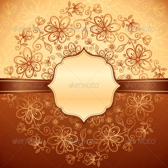 GraphicRiver Lacy Vintage Flowers Background with Label 4621619