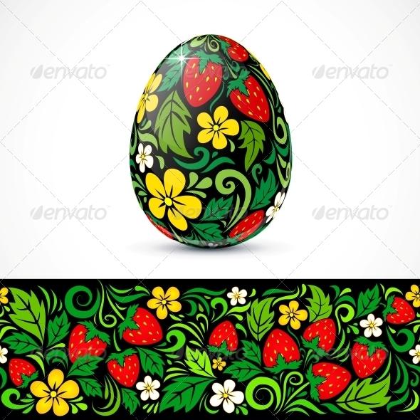 GraphicRiver Traditional Ornate Easter Eggs Sticker Design 4621703