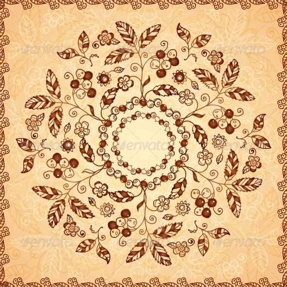 GraphicRiver Ornate Vector Doodle Flowers Background 4621915