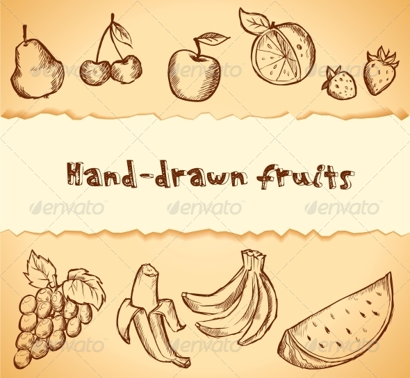 Vintage Sketched Fruits Icon Set