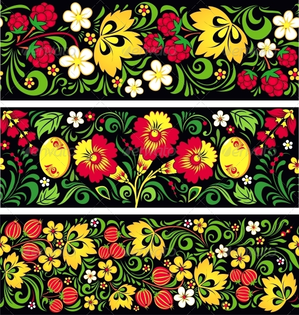 GraphicRiver Patterns in Traditional Russian Style Hohloma 4621949