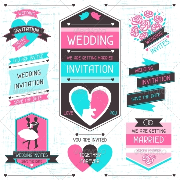 GraphicRiver Wedding Invitation Retro Set of Design Elements 4621956
