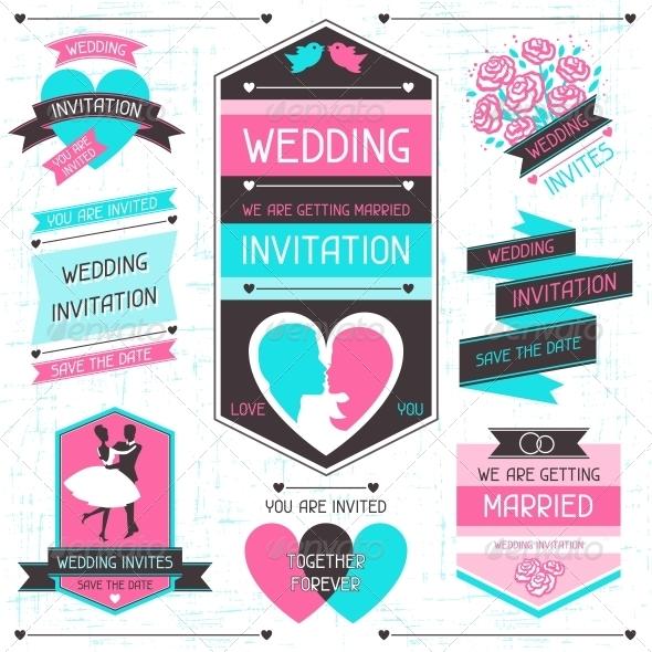 Wedding Invitation Retro Set of Design Elements