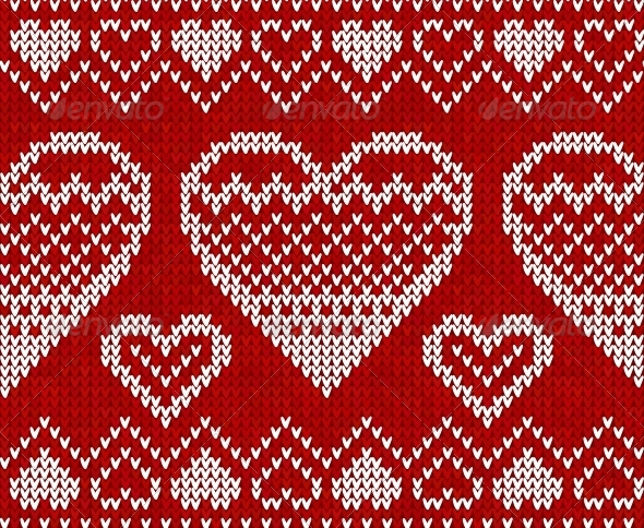 GraphicRiver Valentines Day Red Knitted Seamless Pattern 4621997