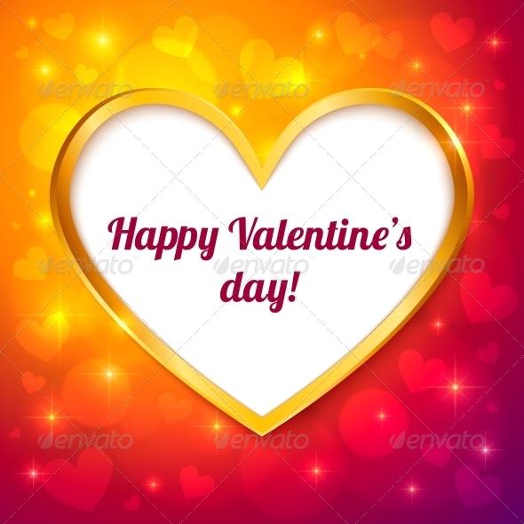 Vector Golden Frame Valentines Greeting Card