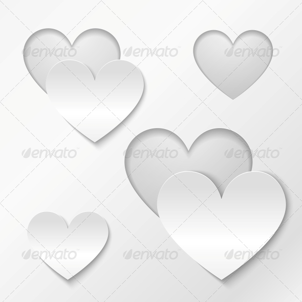 GraphicRiver Cut Out Paper Hearts Valentines Day Card 4622509