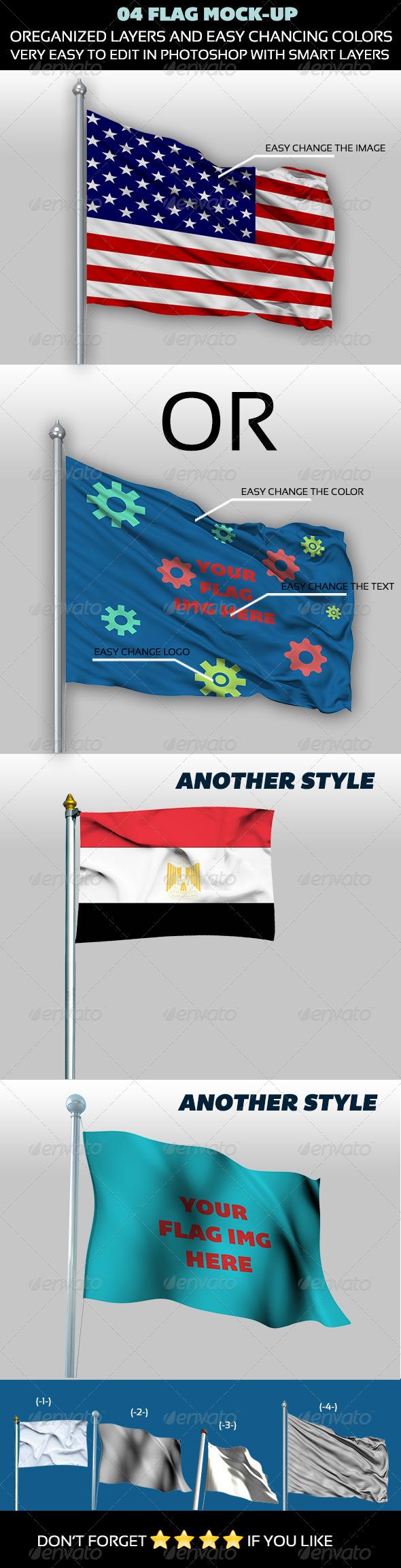 GraphicRiver 04 Flag Mock-up 4622519