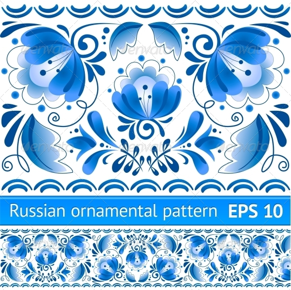 GraphicRiver Russian National Blue Floral Pattern 4622646