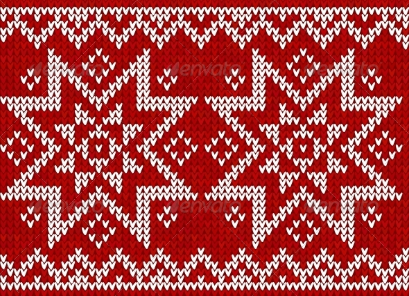 GraphicRiver Red Knitted Stars Sweater in Norwegian Style 4622680