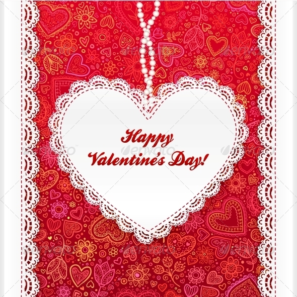 GraphicRiver Vector Valentine s Day Lacy Heart Greeting Card 4622850