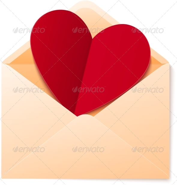 GraphicRiver Vector Simple Envelope with Red Paper Heart 4622868