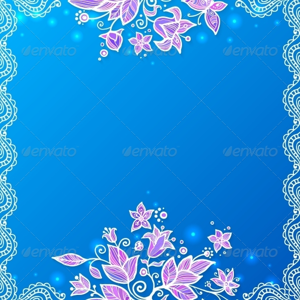 GraphicRiver Blue and Violet Doodle Flowers Card 4622875