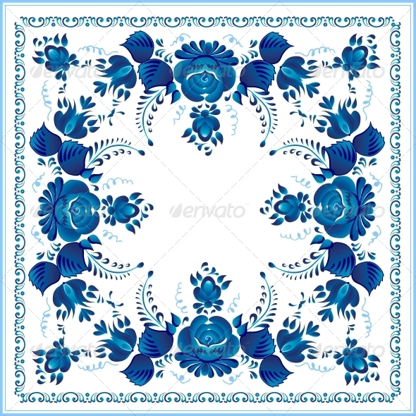 GraphicRiver Russian National Blue Floral Pattern 4622917