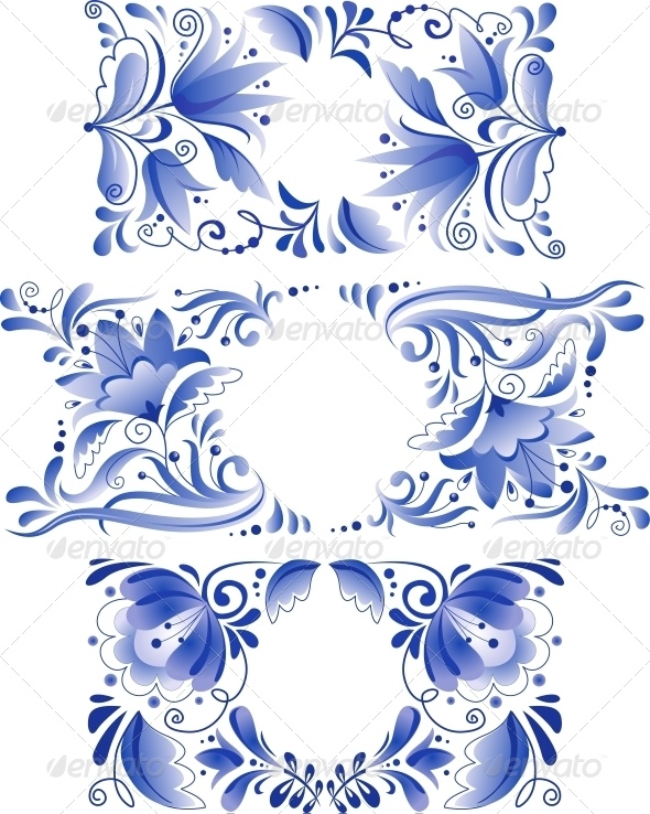 GraphicRiver Russian Ornaments Art Frames in Gzhel Style 4623055