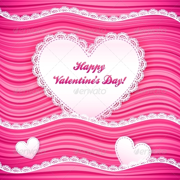 Vector Pink Wavy Valentine s Day Background