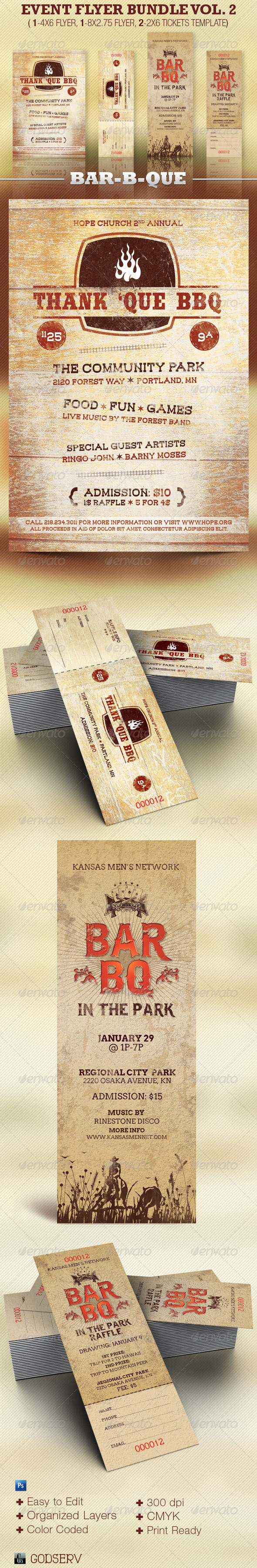 Flyer and Ticket Template Bundle Vol 2: BBQ - Miscellaneous Events