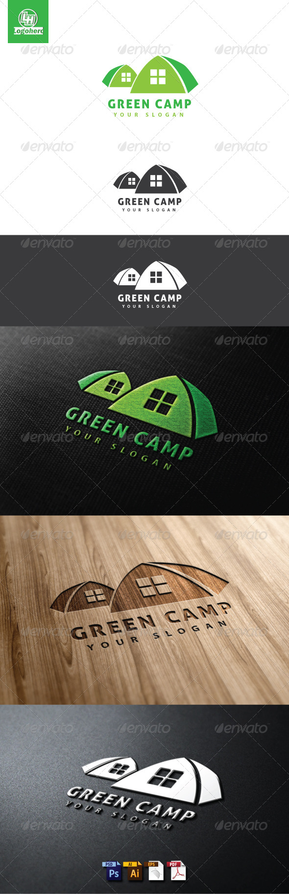 GraphicRiver Green Camp Logo Template 4623604