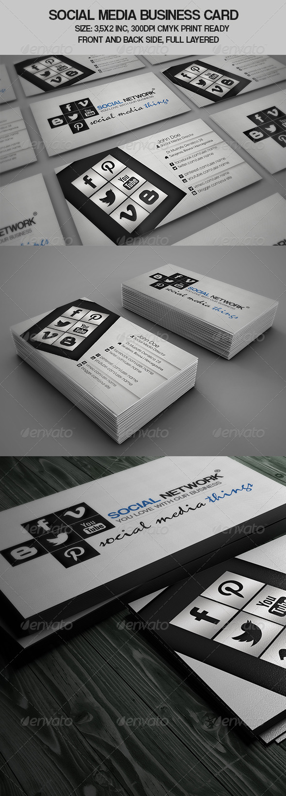 GraphicRiver Social Media Business Card 4543394