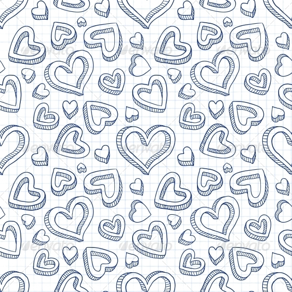 GraphicRiver Seamless Doodle Pattern with Hand Drawn Hearts 4623675