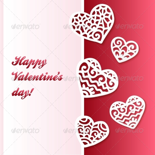 Vector Cut Out Paper Lacy Hearts Valentines Card