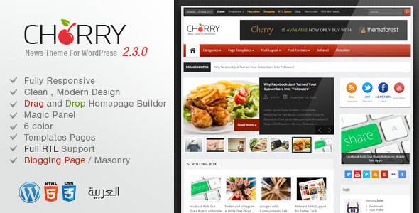 Cherry - Responsive News and Magazine Theme  - News / Editorial Blog / Magazine