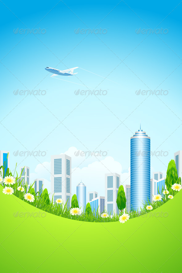 GraphicRiver Green Landscape with City 4624098