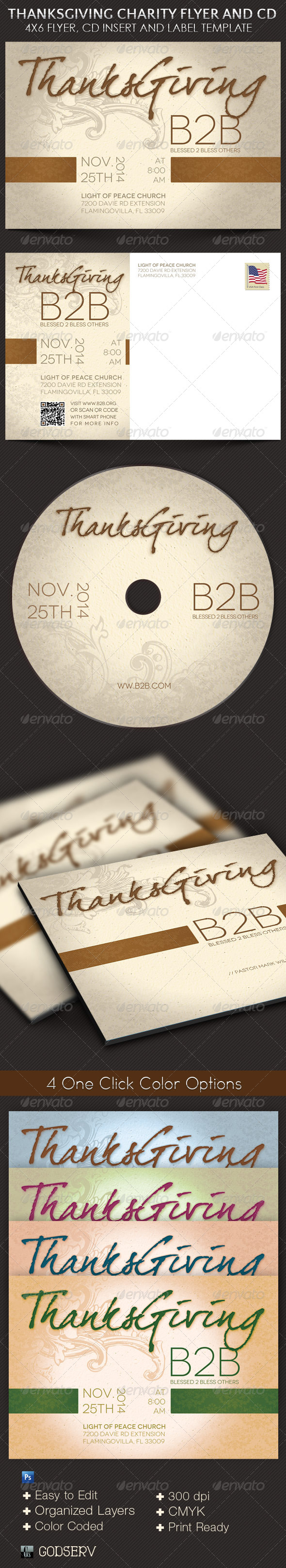 Thanksgiving Charity Flyer CD Template