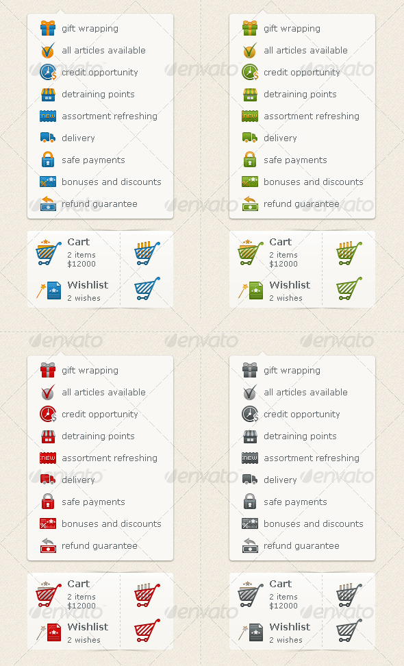 E-commence Icons (Carts & Preferences) - Web Icons