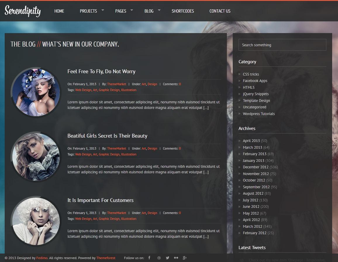 Serendipity - Fullscreen, Photography, HTML5