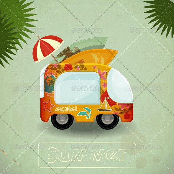 GraphicRiver Summer Travel Bus in Retro Style 4625692