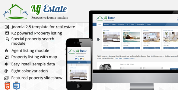 01 preview image.  large preview Mj Estate   Responsive Real Estate Joomla Template