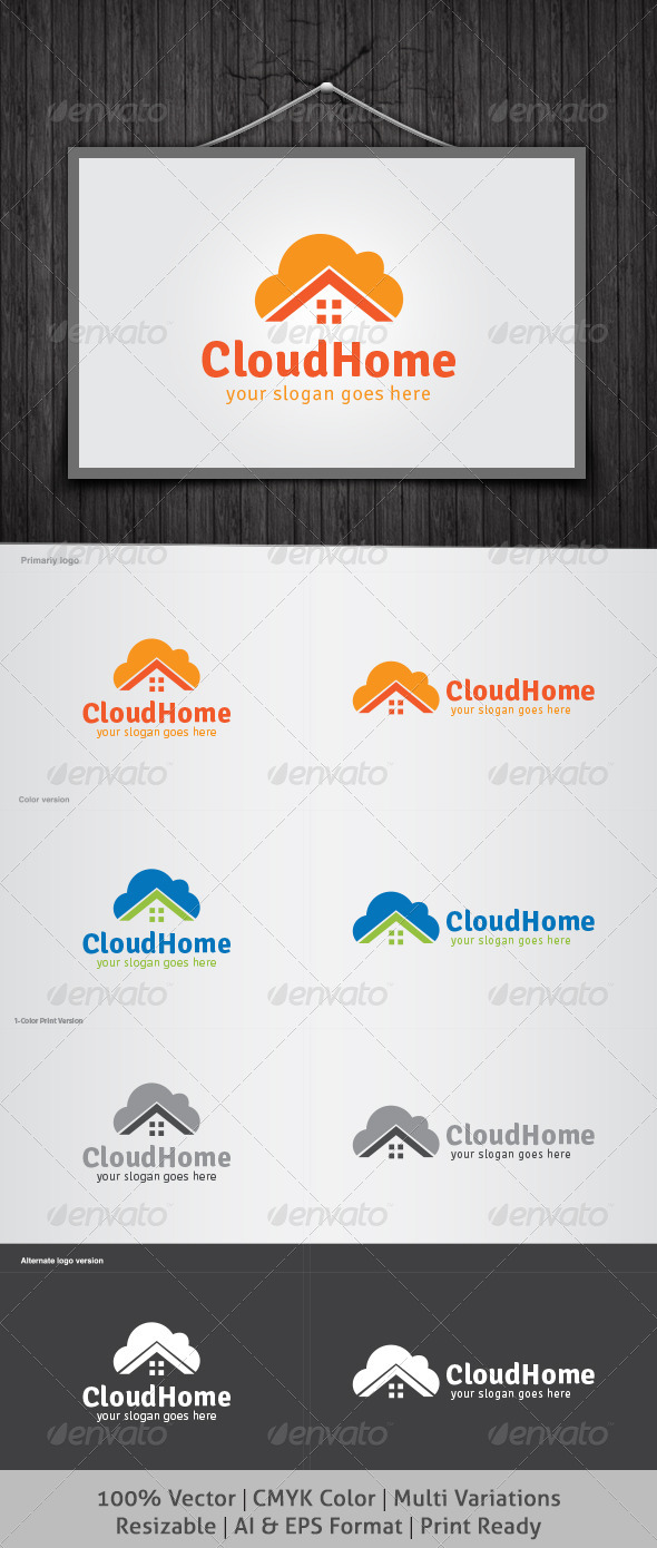 GraphicRiver Cloud Home Logo 4626233
