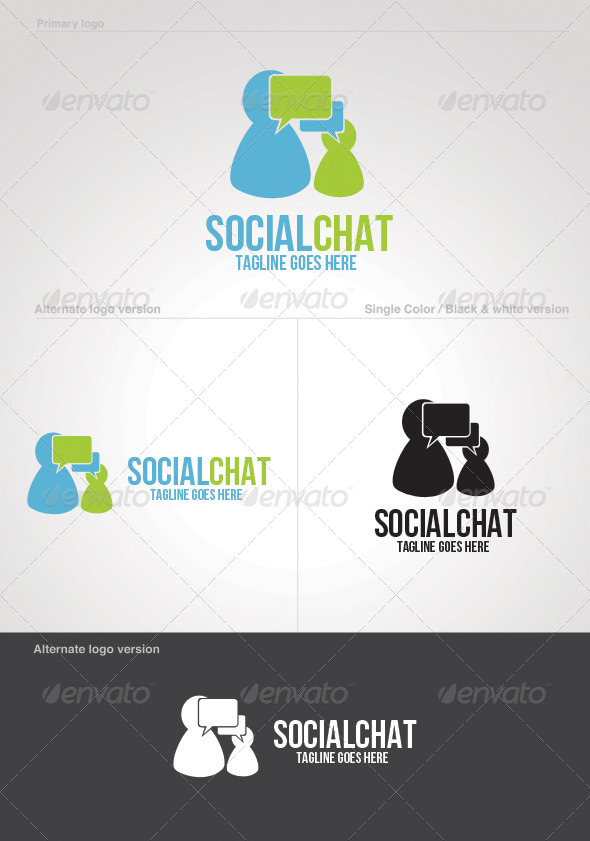 Social Chat Logo Template - Symbols Logo Templates