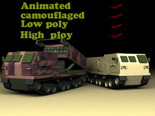 Mlrs Launcher Animated Low Poly High Poly