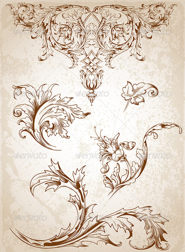GraphicRiver Vintage Victorian Floral Elements 4628194