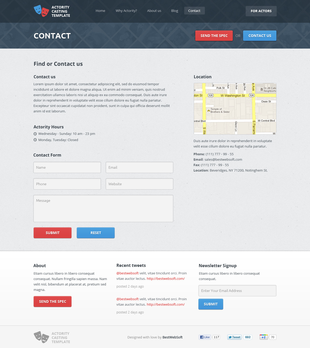 Actority - PSD Template for Casting Agencies