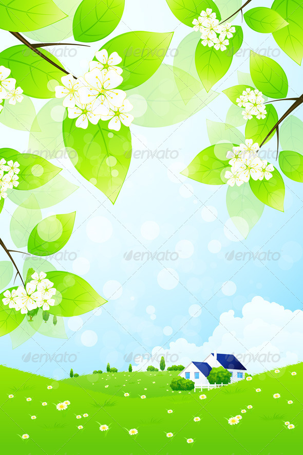 GraphicRiver Green Landscape with House 4628450