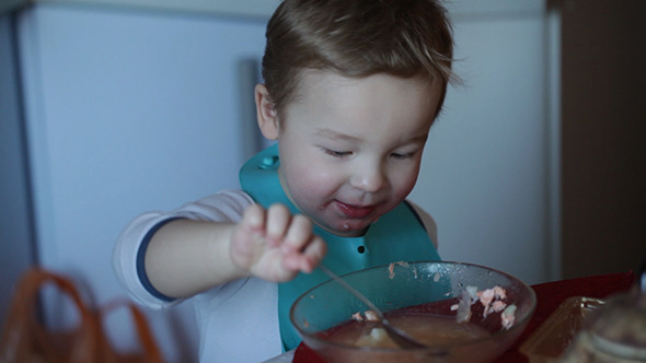 Two Year Old Boy Eats Fish Soup 2